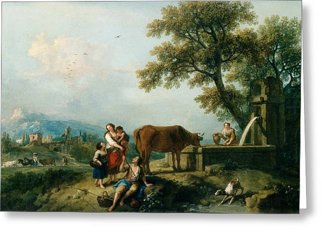 A Pastoral Scene With Cowherds Greeting Card by Francesco Zuccarelli