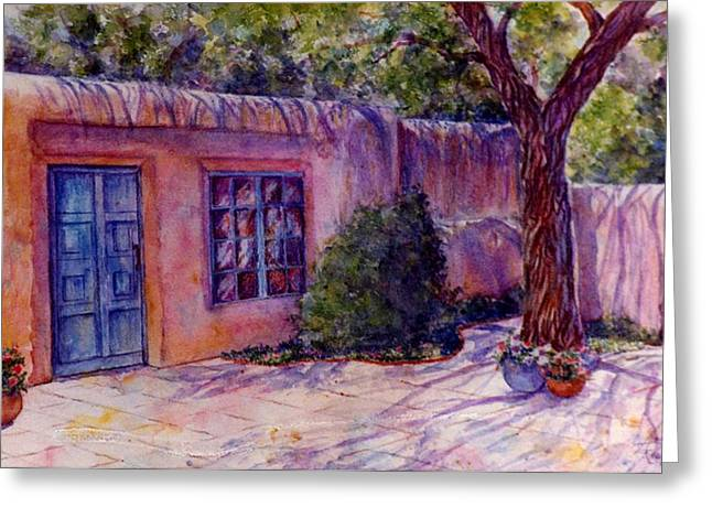 A Patio In Santa Fe Greeting Card by Ann Peck