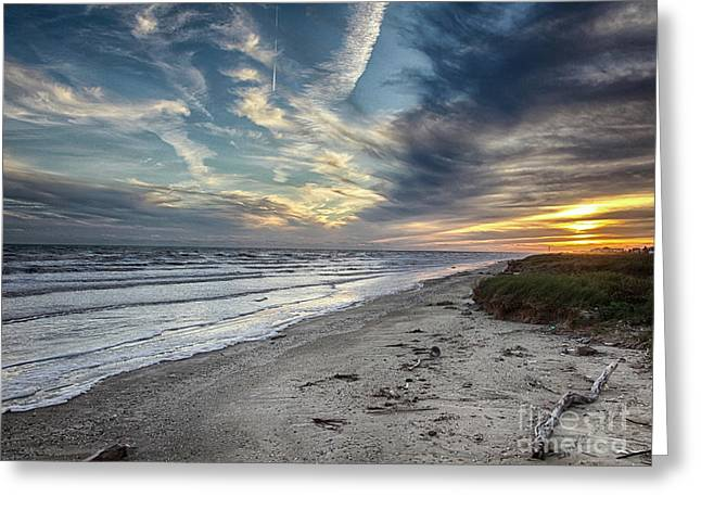 Greeting Card featuring the photograph A Peaceful Beach Sunset by Charles McKelroy