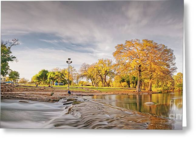 A Peaceful Fall Afternoon At Rio Vista Dam Park - San Marcos Hays County Texas Hill Country Greeting Card