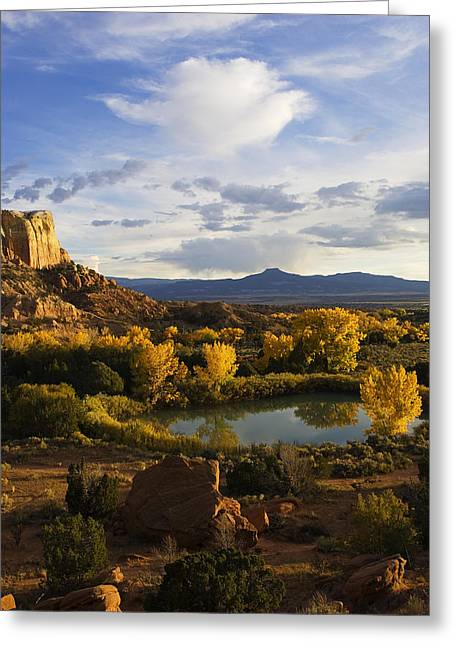 Rio Grande Greeting Cards - A Peaceful Landscape Stretches Greeting Card by Ralph Lee Hopkins