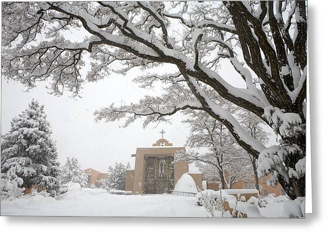 Santa Fe Greeting Cards - A Peaceful Winter Scene Greeting Card by Ralph Lee Hopkins