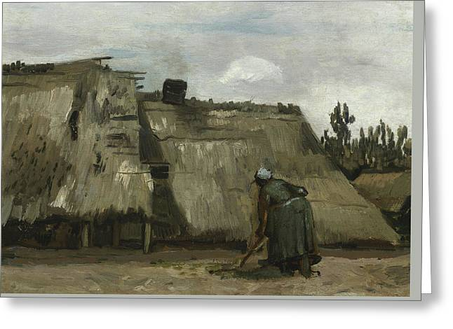 A Peasant Woman Digging In Front Of Her Cottage Greeting Card by Vincent Van Gogh