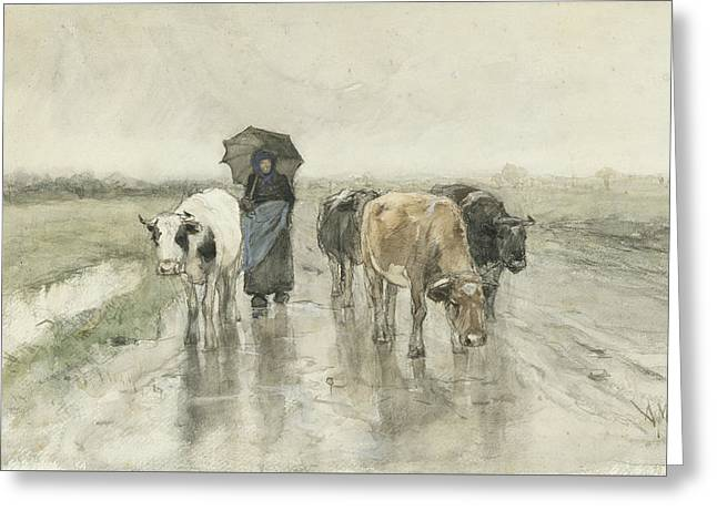 A Peasant Woman With Cows On A Country Lane In The Rain Greeting Card by Anton Mauve