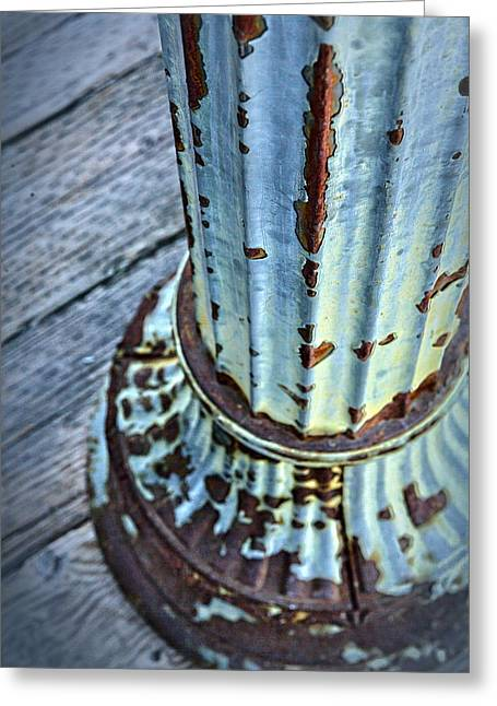 A Peeling Post In Blue Greeting Card