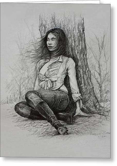 Greeting Card featuring the drawing A Pensive Mood by Harvie Brown