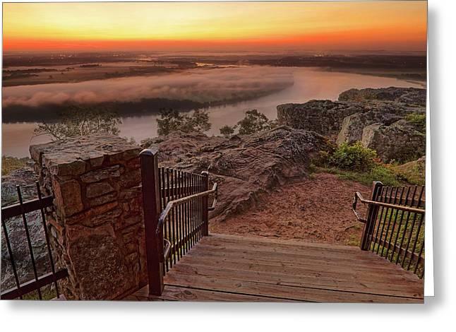 A Petit Jean Sunrise - Arkansas - Landscape Greeting Card by Jason Politte