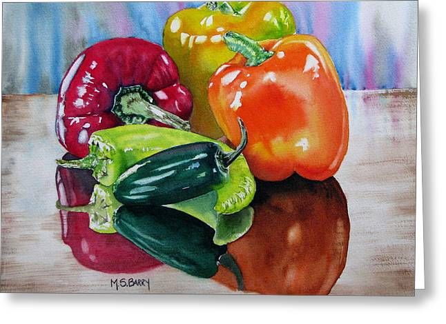 Yellow Pepper Greeting Cards - A Pick of Peppers Greeting Card by Maria Barry