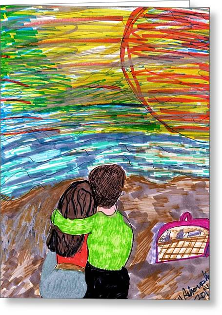A Picnic On The Beach Greeting Card