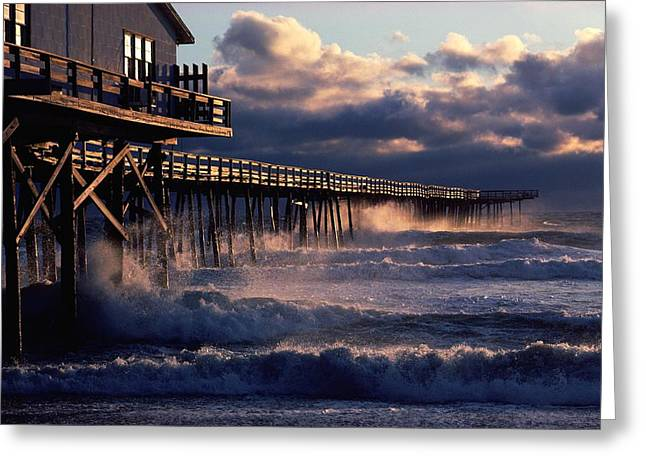 1980s Greeting Cards - A Pier At Nags Head Is Pounded By Early Greeting Card by David Alan Harvey