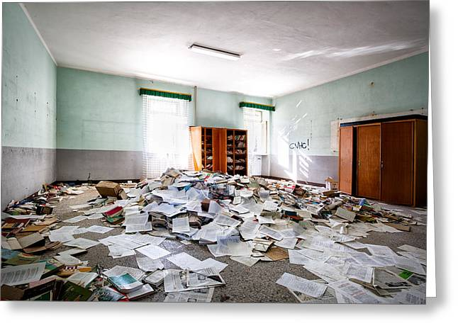 A Pile Of Knowledge - Abandoned School Building Greeting Card by Dirk Ercken