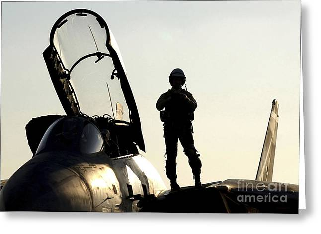 A Pilot Prepares To Enter His F-14b Greeting Card