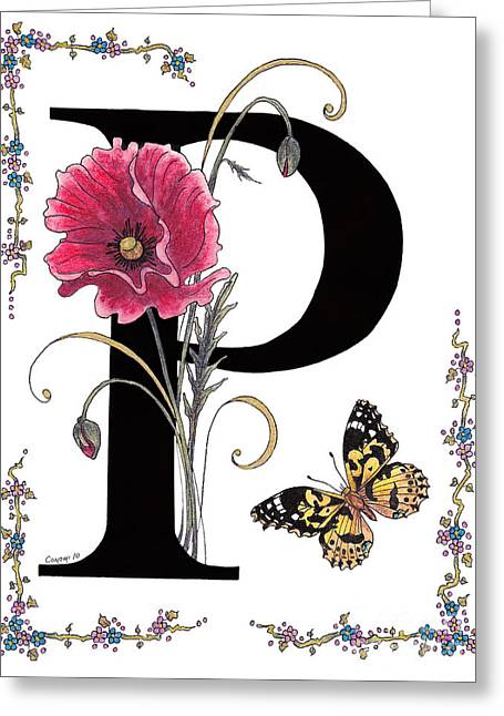 A Pink Poppy And A Painted Lady Butterfly Greeting Card