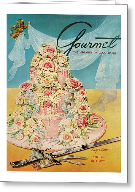 A Pink Wedding Cake And Ceremonial Silver Cutting Greeting Card