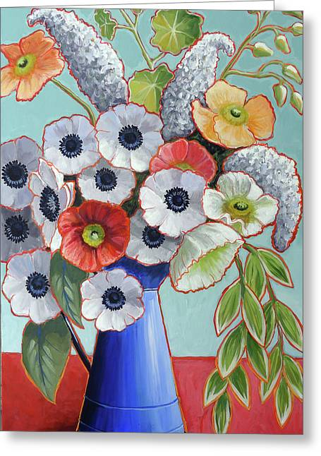 A Pitcher Of Anemones Greeting Card