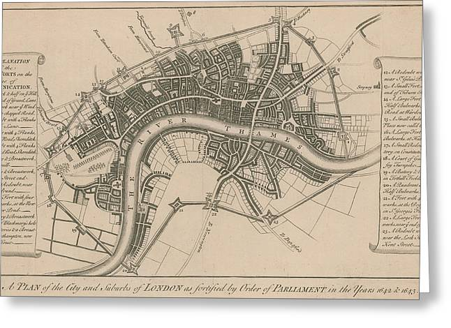 A Plan Of The City And Suburbs Of London In 1642 Greeting Card by English School