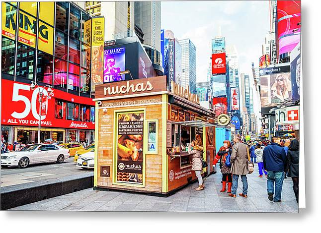 A Portable Food Stand In New York Times Square Greeting Card