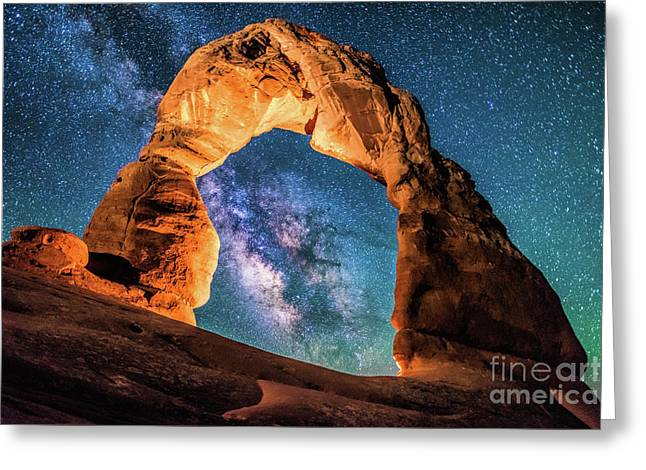 A Portal To The Milky Way At Delicate Arch Greeting Card