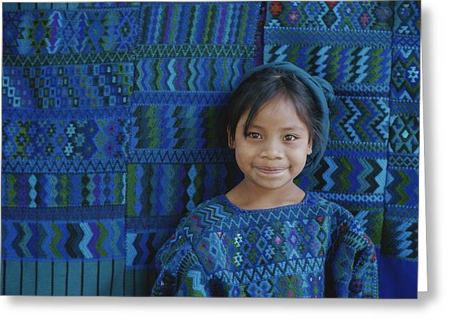 National Children Greeting Cards - A Portrait Of A Guatemalan Girl Greeting Card by Raul Touzon