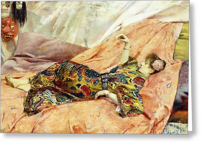 A Portrait Of Sarah Bernhardt, Reclining In A Chinese Interior  Greeting Card