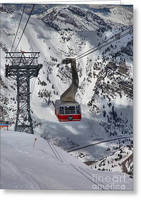 A Portrait Of The Snowbird Tram Greeting Card by Adam Jewell