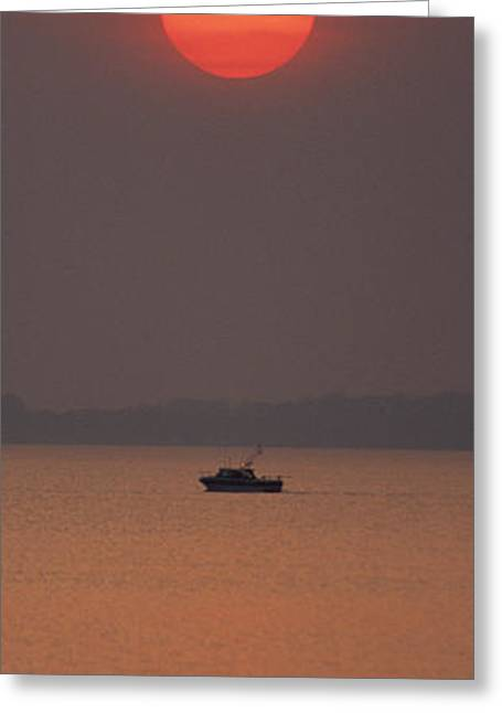 A Power Boat On Its Way To The Fishing Grounds Greeting Card by John Harmon