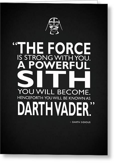 A Powerful Sith Greeting Card by Mark Rogan