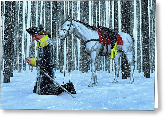 A Prayer In The Snow Greeting Card by Dave Luebbert