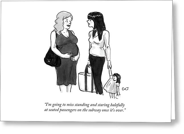 A Pregnant Woman Talks To Her Friend With A Toddler. Greeting Card