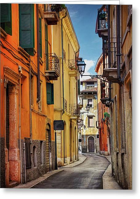 Greeting Card featuring the photograph A Pretty Little Street In Verona Italy  by Carol Japp