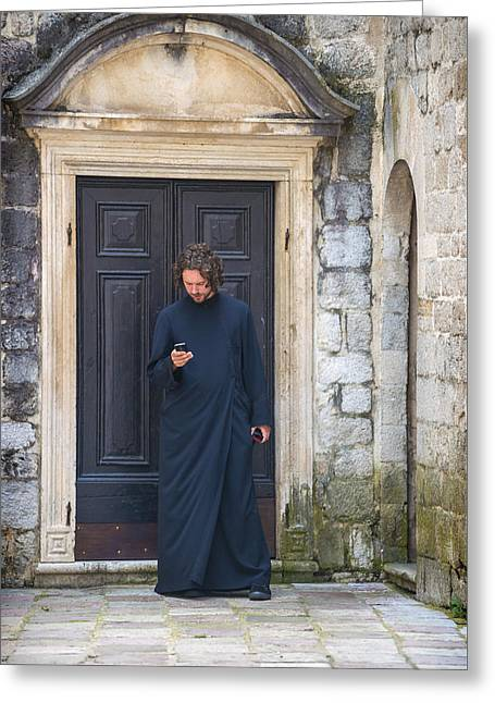 A Priest Sending A Message With His Cell Athens Greece Greeting Card