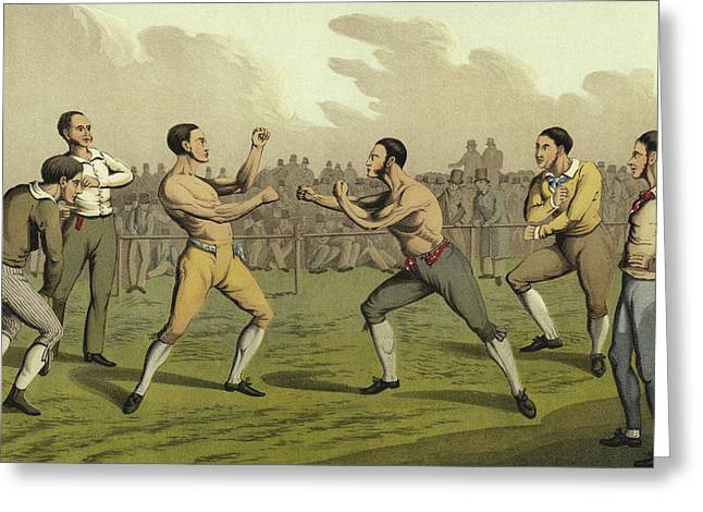 A Prize Fight Greeting Card by Henry Thomas Alken