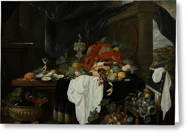 A Pronk Still Life With Fruit, Oysters, And Lobsters Greeting Card by Andries Benedetti