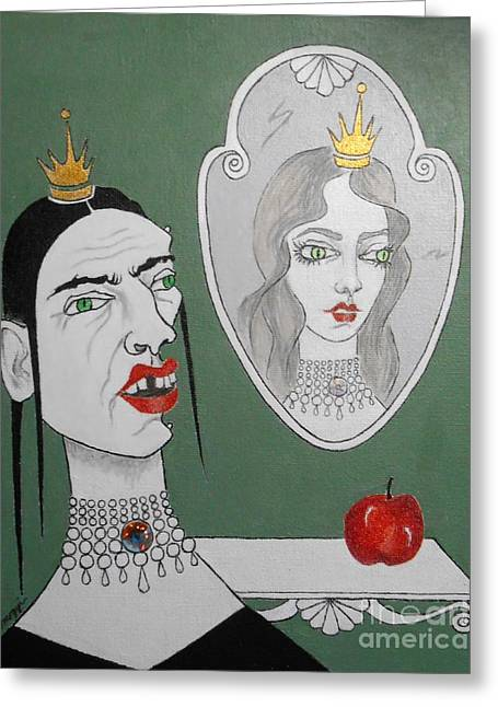 A Queen, Her Mirror And An Apple Greeting Card