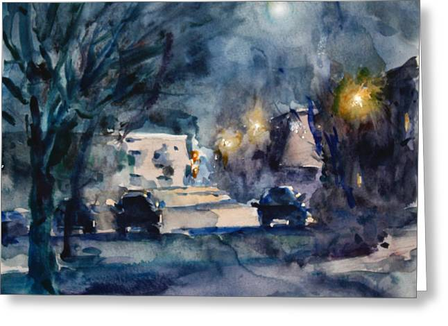 A Quiet Cold Night Under The Moon Greeting Card by Ylli Haruni