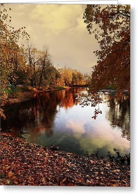 a quiet evening in a city Park painted in bright colors of autumn Greeting Card