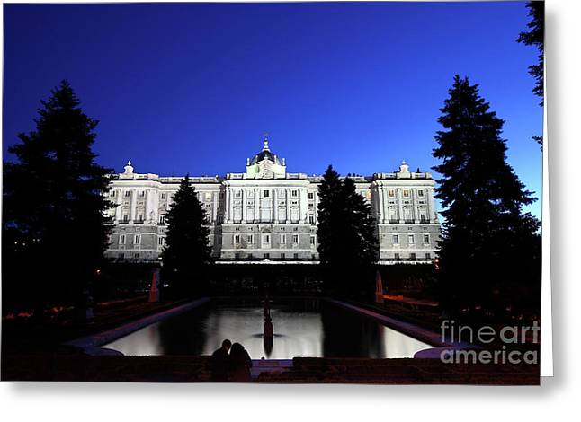 A Quiet Evening In Sabatini Gardens Madrid Greeting Card
