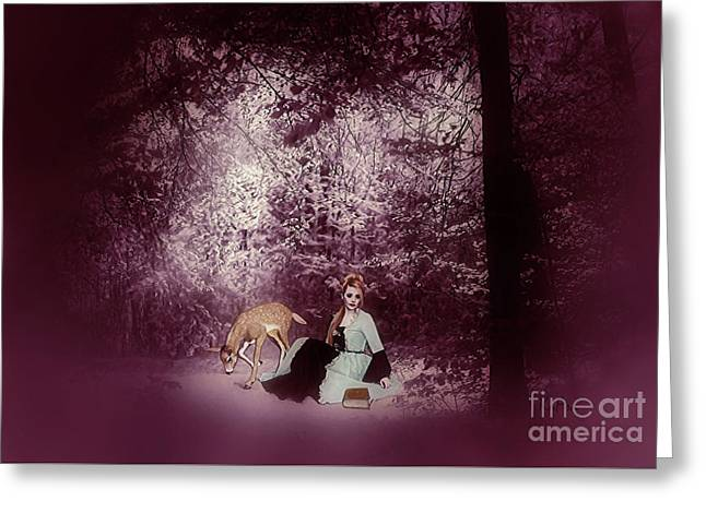 A Quiet Place In The Woods Greeting Card by KaFra Art
