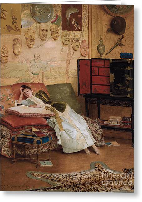 A Quiet Read In A Chinoiserie Interior Greeting Card by Georges Croegaert
