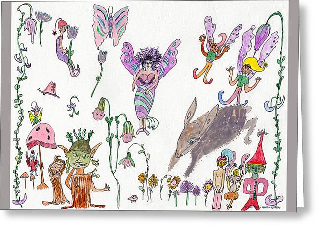 A Rabbit And Some Fairies Greeting Card