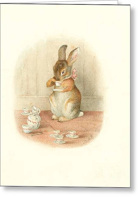 A Rabbit's Tea Party Greeting Card