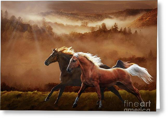 Greeting Card featuring the digital art A Race At Sunset by Melinda Hughes-Berland