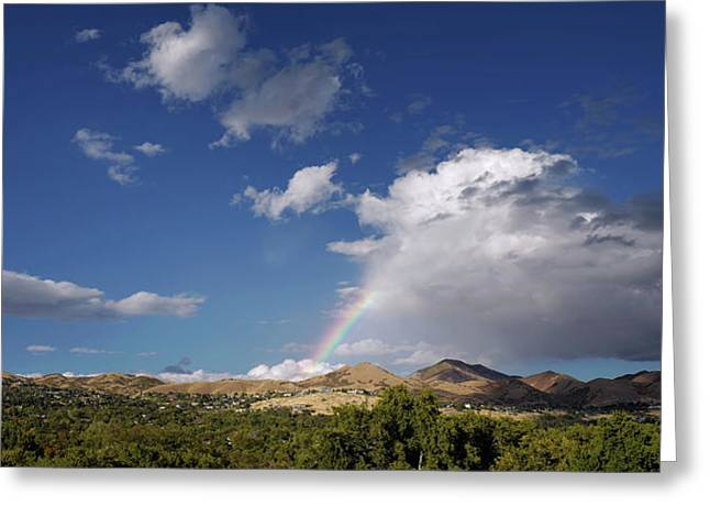 A Rainbow In Salt Lake City Greeting Card by Rona Black