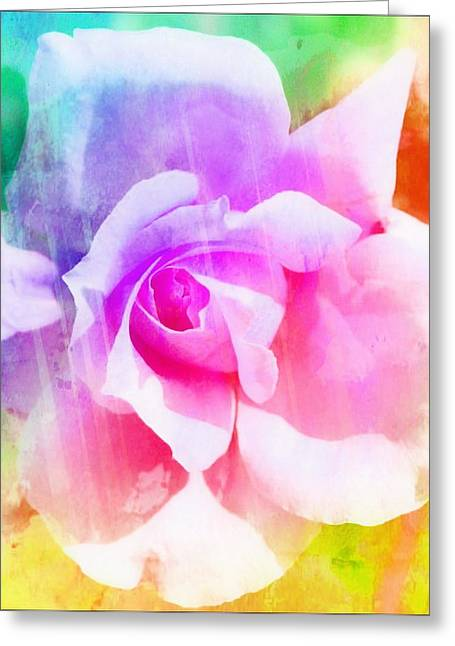 A Rainbow Of A Rose Two Greeting Card by Cathie Tyler