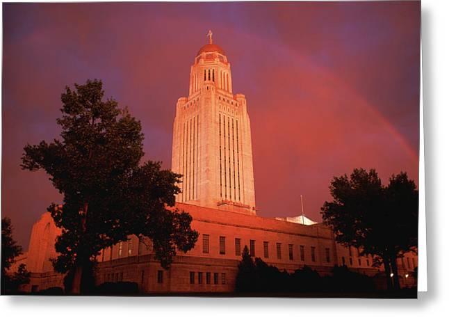 A Rainbow Shines Over The Nebraska Greeting Card by Joel Sartore