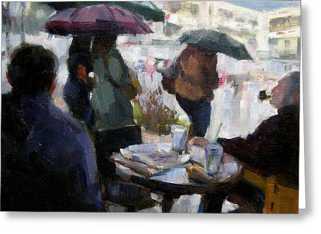 A Rainy Day At Starbucks Greeting Card by Merle Keller