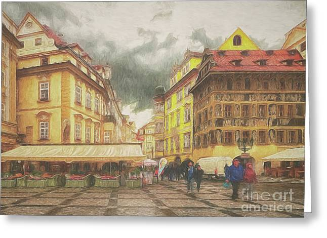 A Rainy Day In Prague Greeting Card