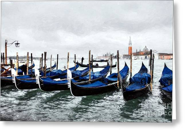A Rainy Day In Venice Greeting Card by Mel Steinhauer