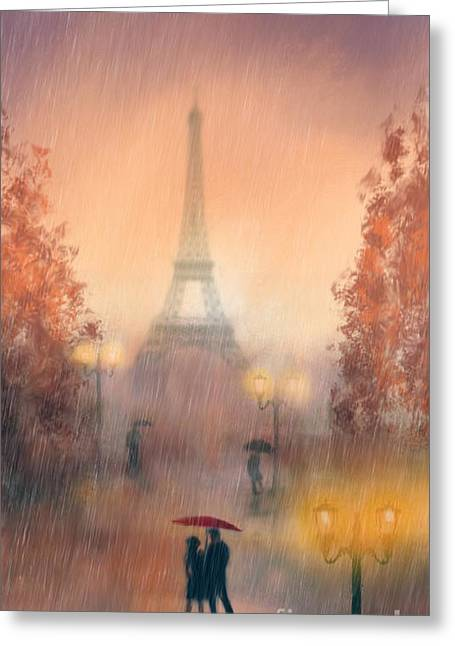 A Rainy Evening In Paris Greeting Card by John Edwards