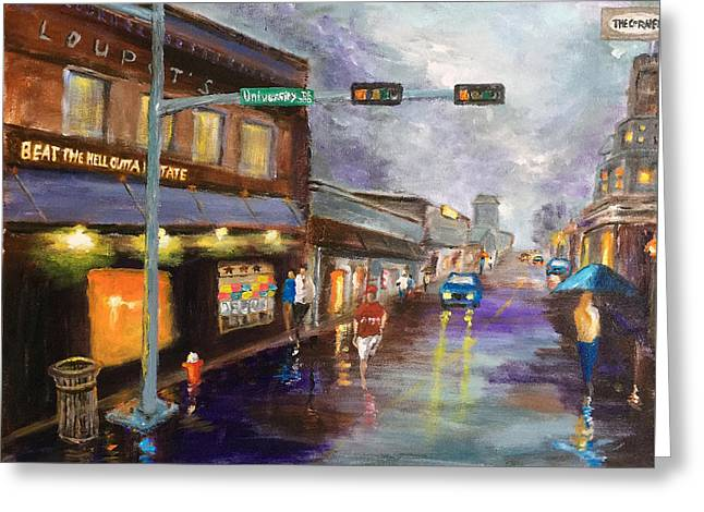 A Rainy Night At Northgate Greeting Card by Daniel Xiao